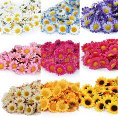 100x 38mm Daisy Gerbera Artificial Silk Flower Heads Wholesale Wedding Craft DIY #