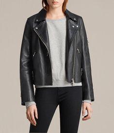Womens Prescott Biker Jacket (Black) - Image 2