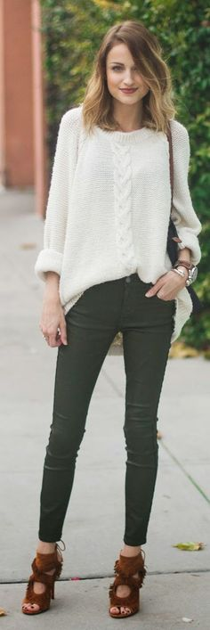 White Loose Cable Knit Sweater
