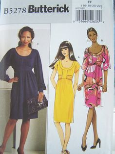 Butterick B5278 Sewing Pattern - Misses' Pullover Dress, Empire Waist Scoop Neck, Easy to Sew, Plus Size Pattern