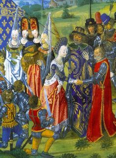 15th C :-*neck houppelande - note lady at left in white gown that has figured fabric for neckline and cuffs