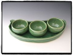 Green Bean Plate and 3 Bowl Set