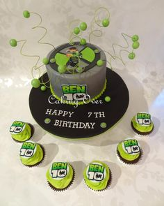 Ben 10 themed cake and matching cupcakes. Chocolate mud cake with chocolate ganache, the cupcakes had hazelnut flavoured buttercream!