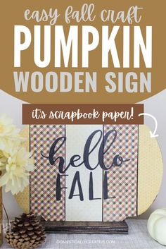 I love how cute and simple this fall sign is to make! Simple fall wood craft that you can make with the kids or just for yourself. Add a little bit of scrapbook paper and you have yourself an adorable wooden pumpkin sign for fall decor. Easy Fall Crafts, Fall Diy, Diy Home Crafts, Crafts To Make, Creative Crafts, Thanksgiving Place Cards, Thanksgiving Decorations, Wooden Pumpkins, Fall Pumpkins