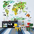Amazon.com: EveShine Animal World Map Wall Decals Stickers for Bedroom Living Room: Home & Kitchen