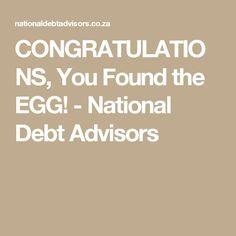 CONGRATULATIONS, You Found the EGG! - National Debt Advisors