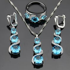 Light  Blue Stones White CZ Silver Color Jewelry Sets For Women Necklace Pendant Rings Long Drop Earrings Free Gift Box