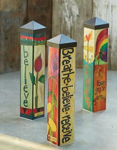 Durable garden poles are innovative reproductions of original hand painted artwork. Simple messages with vivid color are displayed for a unique garden accent. Set garden poles near a pathway, by the f Peace Pole, Garden Poles, Prayer Garden, Pole Art, Pintura Country, Unique Gardens, Mini Gardens, Outdoor Art, Outdoor Spaces