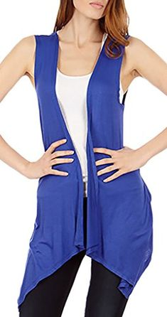 Sleeveless Light Weight Flyaway Cardigan Vest with Elastic Detail at Back -- Check out the image by visiting the link. (This is an affiliate link) Sweaters And Leggings, Women's Sweaters, Sweater Vests, Cardigans, Lightweight Cardigan, Basic Tops, Fashion Outlet, Knit Dress, Denim