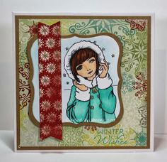 handmade Christmas card featuring digital image from #fitztown, sentiment from @Vanessa Jacky-Davis Stamps, patterned papers from #fancypants