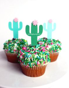 Cactus Toppers-cactus party-cactus cupcake toppers-fiesta cactus toppers-fiesta toppers-fiesta-cactus picks-taco party-cactus party decor – Famous Last Words Party Fiesta, Taco Party, Snacks Für Party, Fiesta Cake, Party Sweets, Diy Cake Decorating, Kaktus Cupcakes, Succulent Cupcakes, Cupcake Toppers