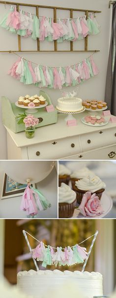 Shabby chic dessert table with DIY tassel garland