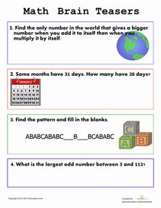 First Grade Logic Puzzles & Riddles Worksheets: Easy Brain Teasers for Kids Logic Math, Math Problem Solving, Kids Math Worksheets, Maths Puzzles, Easy Brain Teasers, Logic Problems, Brain Teaser Puzzles, Math Challenge, Math For Kids