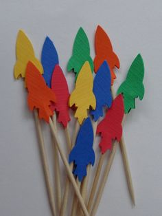 24 Rocket Party Picks  Cupcake Toppers  Food by SewPrettyInVermont, $4.25