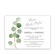 Rehearsal Dinner Invitations Watercolor Eucalyptus Wedding which has watercolor painted eucalyptus and calligraphy scripts for your rehearsal dinner.