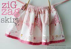 Zig Zag Skirt Tutorial at Moda Bake Shop {The Polkadot Chair}  #sew #SewforGirls