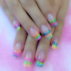 Best Summer Nail Colors of 2018 Easter Nail Designs, Easter Nail Art, Pretty Nail Designs, Acrylic Nail Designs, Nail Art Designs, Acrylic Nails, Rainbow Nails, Neon Nails, Summer Nail Polish