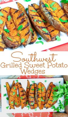 Healthy Southwest Grilled Sweet Potato Wedges with Cilantro recipe - the best easy vegan and dairy free grilling recipe! Simple and made with olive oils and chipotle. The recipe includes options for dipping sauces. / Running in a Skirt