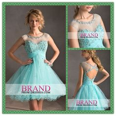 Shinning and elegant homecoming dress with refreshing cool colors and gorgeous designing.