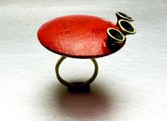 Victoria Ioannidou, Ring, 2014,brass, burnt acrylics, oxidation.