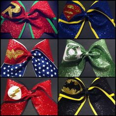 Set of 6 Justice League Superhero Bows by BowsByTeri on Etsy