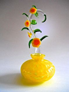 Yellow Art Glass Perfume Bottle Tall Floral Stopper Vintage.