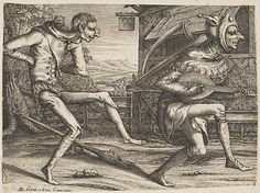 Two Fools Dancing from Two and Three Fools of the Carnival Hendrick Hondius I (Netherlandish, Duffel 1573–1650 Amsterdam)
