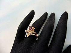 Avon Faux Amethyst Clear Stone Ring by ediesbest on Etsy, $13.95