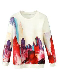 White Sweatshirt With Cityscape Print