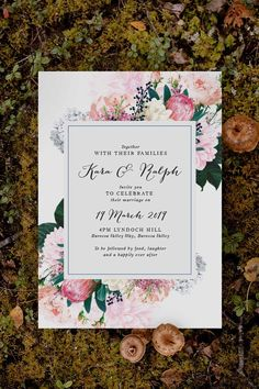 Stunning native floral protea Wedding Invitation by Sail and Swan Studio. The design features pink protea flowers with other native florals and botanicals such as pink and cream dahlia flowers, pink roses and greenery.