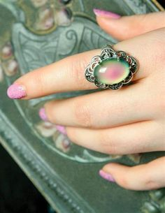 Once a 1970s novelty, a coveted sterling silver mood ring in Victorian style monitors your peace of mind.