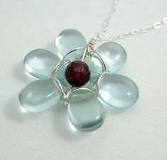 Necklace with a Flower of Pale Blue Quartz by jewelrybyroz on Etsy, $36.00