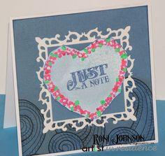 Just a Note Flowery Heart Wreath Card - IMAGINE Crafts featuring Tsukineko Radiant Neon Amplify, Memento Inks, Fireworks spray; Club Scrap paeprs.