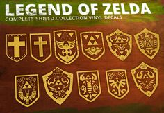 Legend of Zelda- Shield Complete Set Vinyl Decal. $32.00, via Etsy.