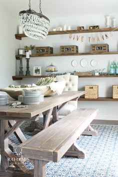 Lowe's Fall Makeover Reveal Dining Room trestle table floating shelves dough bowl