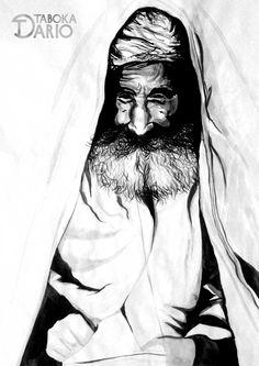 Versão de um mago do deserto com diversos tons de nanquim aguada feito pelo ilustrador Dario Taboka.