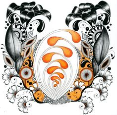Zentangle Inspired Art,  orange floral by Alma