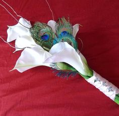 Items similar to Real Touch Peacock Feather & Calla Bouquet. on Etsy Simple Wedding Bouquets, Fall Bouquets, Bride Bouquets, Bridesmaid Bouquet, Wedding Flowers, Lily Wedding, Peacock Theme, Peacock Wedding, Masquerade Wedding