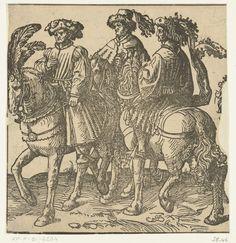 anoniem | Een groep van drie ruiters, attributed to Jacob Cornelisz van Oostsanen, in or after 1518 - 1533 | Afdruk van een versneden houtblok. Drie niet geïdentificeerde personen te paard. Misschien toegevoegd aan de serie Graven en Gravinnen van Holland. Aan rechterzijde stuk uitgesneden.