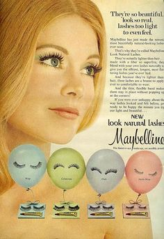 Here is a makeup Ad in the 70's, for lashes...Fake eyelashes! This is when women could start having the look of crazy long lashes even if they didn't have them naturally. A neutral face that's quite and feminine was paired with these lashes. #70s #Maybelline #falseies