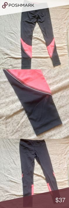 Zella leggings with mesh ankles Coral and charcoal grey, small zip pocket at back waist. Yoga or workout pants. Never worn! Purchased at Nordstrom. Zella Pants Leggings