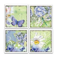These are pretty.  ON SALE  Butterfly/Dragonfly Coaster Set by BuffaloCreekCrafts, $16.00