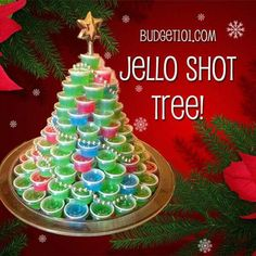 Christmas Jello Shots--with multiple recipes for different Jello shot flavors Tired of Cherry Jello Shots? Here are 102 Awesome Flavors of Jello Shooters you can make for your next party from Alabama Slammers all the way to Zombies Christmas Jello Shots, Christmas Party Food, Christmas Cocktails, Holiday Drinks, Noel Christmas, Christmas Goodies, Christmas Treats, Christmas Baking, Holiday Treats