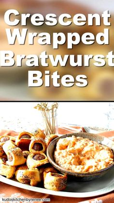 Easy Bratwurst Bites appetizers are just the thing to serve during a party or for game day. They're also super simple to make and everybody loves them! German Appetizers, Sausage Appetizers, Popular Appetizers, Game Day Appetizers, Wedding Appetizers, Crescent Roll Appetizers, Crescent Rolls, Brunch Recipes, Summer Recipes