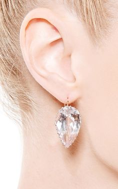 One of a Kind Pear Shape Kunzite Earrings by Renee Lewis for Preorder on Moda Operandi