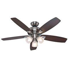 Hunter Highbury 52 in. Brushed Nickel Indoor Ceiling Fan - 52005 - The Home Depot
