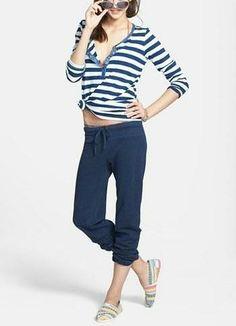 Seaside worthy! Stripe tee + bikini + cute sweatpants