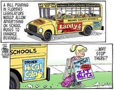 Political Cartoon on Florida's legislator on advertising on School Buses.