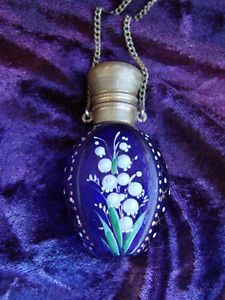 Antique Victorian Cobalt Glass Scent Perfume Bottle Enamel Flowers Chatelaine