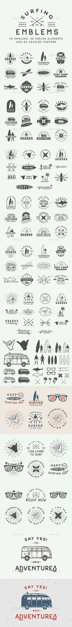 Vintage Surfing Emblems Templates PSD, Vector EPS, AI Illustrator